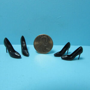 Dollhouse Miniature 2 Pair of Black High Heel Pumps G7346