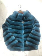 Bespoke Rex Rabbit Fur Jacket In Emerald Chinchilla Style Brand New!Size 8-10 UK