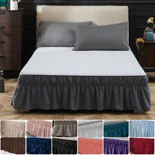 14' 16' 18' Drop Bed Skirt Full Queen King Size Dust Ruffle Wrap Around Bed