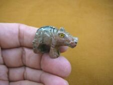 (Y-Hip-30) red gray Hippo Hippopotamus gem Gemstone carving Soapstone hippos