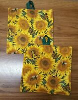 Potholders set of Two Sunflowers, Butterflies And Bees