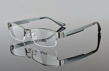 Mens Sporty Half Rimless Eyeglasses Frames RX Spectacles Glasses Lightweight Gunmetal