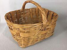 Vintage Woven Bamboo Wicker Handled Gathering Harvest Basket