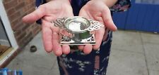 A Vintage Silver Plated Tea Strainer And Drip Bowl With Pierced patterns.1920.s.