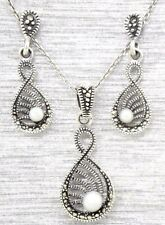 Studs Pendant Pearl Marcasite Set 925 Sterling Silver