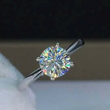 Certified 1.25 Ct Round Cut Moissanite Solitaire Engagement Ring 14k White Gold