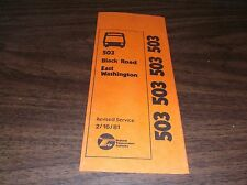 FEBRUARY 1981 CHICAGO RTA ROUTE 503 BLACK ROAD BUS SCHEDULE