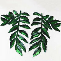 1 Pair Green Leaf Patches Sequins Sew on Applique Clothing Sewing Badge Decor