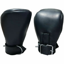 REAL LEATHER PADDED MITTS RESTRAINTS BONDAGE GLOVES MITTENS FOR ADULTS