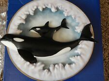 Amy & Addy Orca 3-D Killer Whale Marine Mammal Collectors Plate Mom & Baby Orca