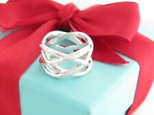 Tiffany & Co Silver Knot Weave Braided Ring Band Size 7.5