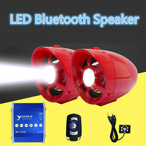 UTV,ATV, Anti-Theft LED Speakers USB Audio System Stereo Waterproof Bluetooth