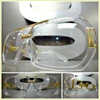 Mens CLASSIC RETRO HIP HOP Style Clear Lens EYE GLASSES Transparent & Gold Frame