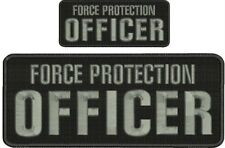 Force Protection Officer embroidery patches 4x10 and 2x5 hook ON BACK grey