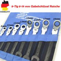 8-Tlg Gelenk Ringmaul Ratschenschlüssel Satz Set 8-19 mm Gabelschlüssel Ratsche
