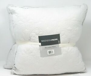 """Madison Park Quebec 20"""" x 20"""" Quilted Decorative Pillow 2-Pack - Gray"""