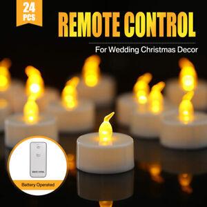 24PCS Tea Lights Candles LED FLAMELESS FLICKERING Battery Operated Wedding XMAS
