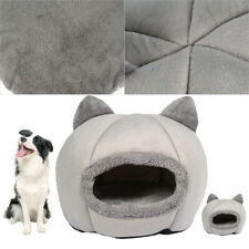 Large Cat Bed Cave Wool Cozy Pet Dog Igloo Bed Warm House Nest Kennel Grey M L..