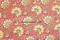 Indian Sun Flower Bright 100% Cotton Hand Print Dressmaking Craft Fabric 5 Yard