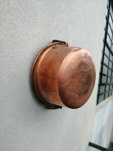 Pot Pan Rame Forgé à la Main XIX Siècle Étamé Rivets 863 Gr