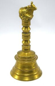Old vintage Temple Bell Hindu Traditional Ethnic Brass Nandi Bell G70-269 US