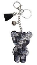 Bijoux de sac, porte-clés ourson nounours strass cristal gris et blanc.