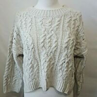 H&M Cream Wool Blend Cable Knit Crew Neck Over Size Crop Sweater SZ  Small