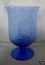 Lt.Cobalt Blue Blown Glass Footed Votive / Tealight / Hurricane - MORE AVAILABLE