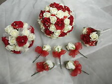 RED AND IVORY WEDDING BOUQUET / FLOWERS PACKAGE