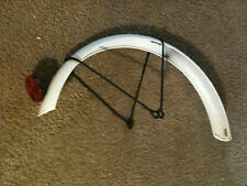 "WHITE 16"" BACK WHEEL STEEL FENDER 1.75""W +RED LIGHT REFLECTOR BIKE BICYCLE"