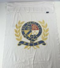 Vtg POLO Ralph Lauren MCMLXVII Nautical Crest Large White Beach Towel Buckle