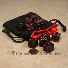 NEW 10 Black with Red Pips Dice Set + Velvet Bag D&D RPG Bunco Game D6 Six Sided