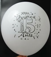 12 MIS QUINCE  GLOBOS PARTY FAVOR DECORATION WHITE 15 ANOS BALLOONS RECUERDOS