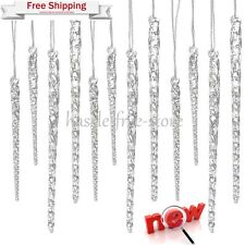 Clear Glass Icicle Ornaments Christmas Tree Decor 24 Piece Holiday Decoration
