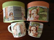 """Lot o 2 - Royal Worcester Mugs - Fine Bone China - """"Pigs"""" - """"On the Allotment"""" +"""
