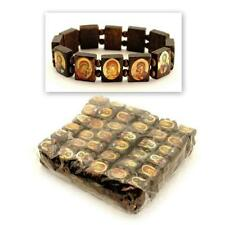 Wholesale 12 SAINT BEAD BRACELET Brown Wood Stretch Religious Catholic Icon Gift