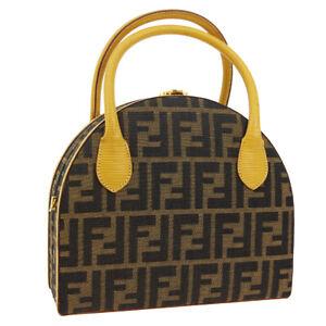 FENDI Zucca Pattern 2way Hand Bag Box Brown Beige Canvas Leather Italy WA00802