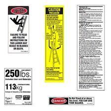 6 Pack Werner Lfs100 250 Fiberglass Step Ladder Safety Labels 250lb Capacity