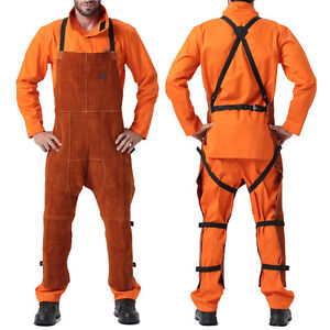 AP-7236 FR Split Cowhide Welding Work Chaps/Pants w/ Breast Protection&Open Back