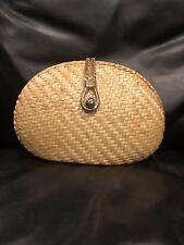 Walborg Straw Clutch/Shoulder Bag With Gold Hardware