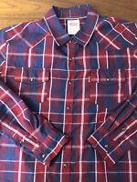 Levi's XL Modern Fit L/S Metal Snap Western Shirt Plaid Cowboy Ranch Red Mens