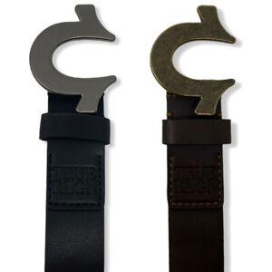 """True Religion Men's Sage Heavy Weight Metal Horseshoe Buckle 1.5"""" Belt"""
