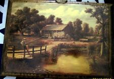 Estate Vintage Wooden Wall Print of a Painting of Little Boy Fishing Old Cabin