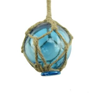 Nautical Rope Fishing Buoy Light Blue Glass Float Fish Net Ball Tiki/Luau Decor