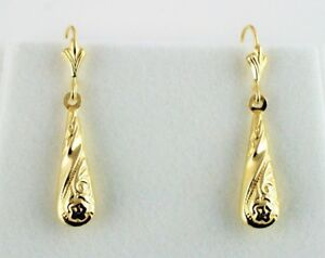New 9ct Yellow Gold Patterned Drop Earrings