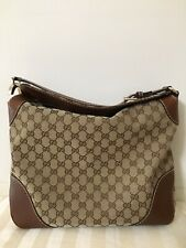 Preowned Authentic Gucci Canvas Large Flap Hobo Bag