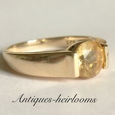 Quality 9ct Gold On Solid Sterling Silver Ring 925 Unknown Yellow Gem Stone