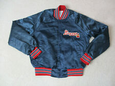 VINTAGE Atlanta Braves Jacket Adult Small Blue Red Satin MLB Baseball Coat 90s *