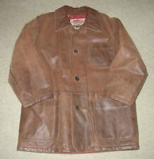 Vintage La Matta Century Brown Leather Coat SZ Mens 42 Made in Italy Jacket