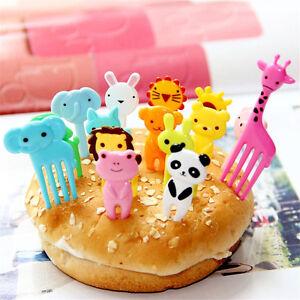 10pcs Bento Cute Animal Fruit Food Picks Forks Lunch Box Accessory Decor Tool HS